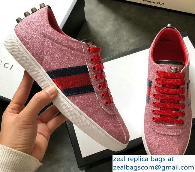 ce914d15ad1 Gucci Web Ace Glitter Leather Low-Top Women  s Sneakers 419544 Studs Pink