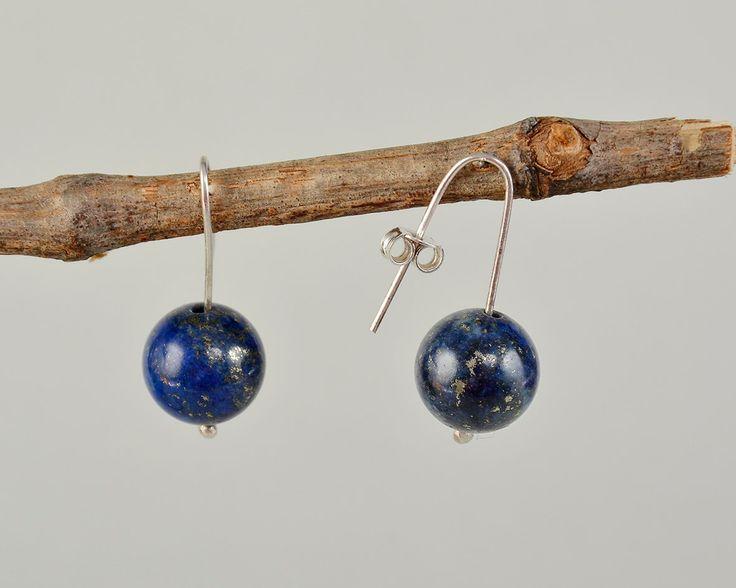 Lapis lazuli silver earrings, navy drop earrings, dark blue jewelry, handmade earrings, women short drops, Easy to wear dangle, classic drop by ColorLatinoJewelry on Etsy