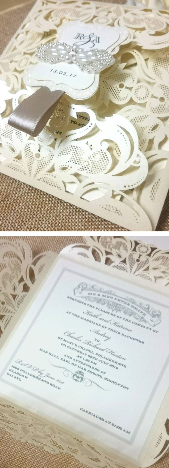 wedding invitations gifts%0A Laser Cut Pocket Wedding Invitation  beaded and jewelled applique  unique  wedding  luxury stationery