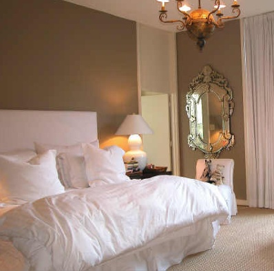 White Bedding Taupe Tan Walls Decorating Ideas