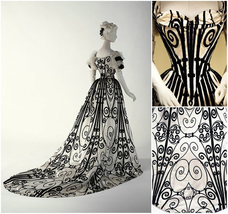 1900 evening gown, Met Museum of Art.  Go to http://fiveminutehistory.com/a-5-minute-guide-to-the-house-of-worth/ to see more!