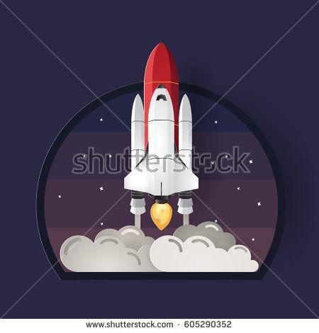 Color full Rocket logo template. Vector illustration paper cut style