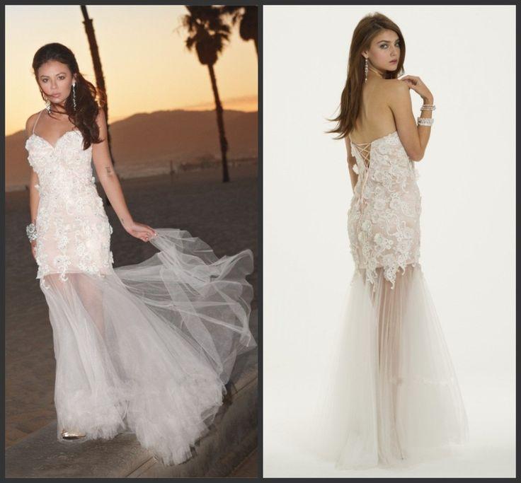Сексуальная спагетти ремень чистой юбка платья выпускного вечера белые босоножки назад 3D кружева цветочные пром платье для влагалище ну вечеринку платье