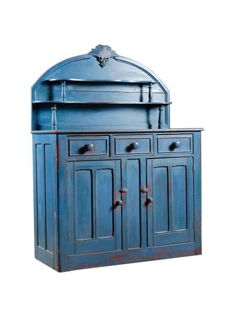 English Victorian Pine Buffet Painted In A Blue Milk Paint. Offers Ample  Storage Including Storage