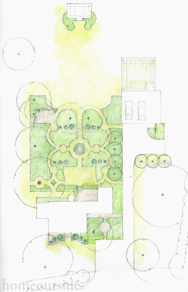 """""""French Parterre"""" landscape concept reflects her profound love of French gardens. Online landscape design service"""