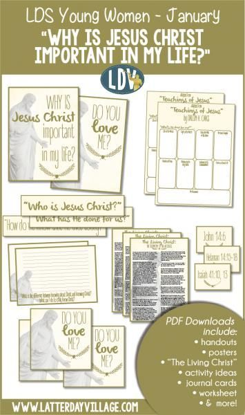"LDS Young Women January, ""Why is Jesus Christ important in my life?"" Lesson helps include handouts, activity ideas, worksheets, and more! - http://LatterdayVillage.com"