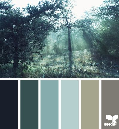 Gorgeous twilight tree tones in grey, beige, soft blues and teal. Relaxing for a bedroom, or even a dining room.