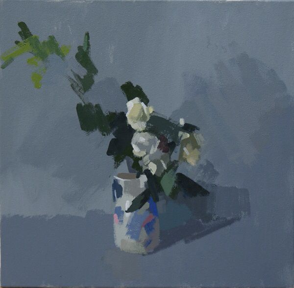 White roses, no.4.  Oil on canvas 16 x 16 ins.  Philip Richardson