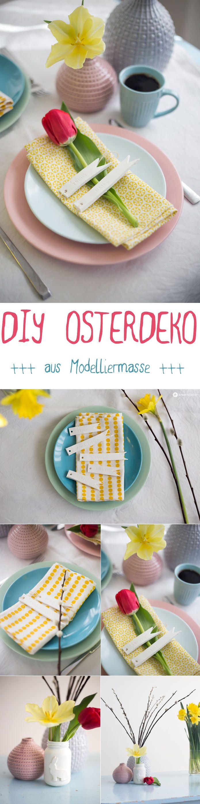 DIY Osterdeko Ideen aus Modelliermasse [DIY Tischkärtchen und Vase für das Osterfrühstück oder den Osterbrunch] Kreativfieber