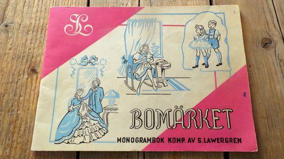 Vintage Zweeds borduurpatronen boek met  monogrammen, dieren en bloemen op Etsy, 10,00 €
