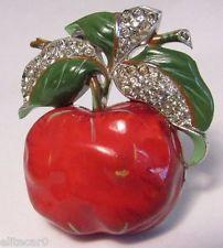Vintage 1940s Trifari 'Phillippe' rhinestone enamel apple fur clip brooch pin…