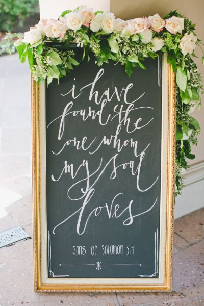 Garland, gold and beautiful calligraphy: http://www.stylemepretty.com/little-black-book-blog/2014/11/14/classic-langham-pasadena-wedding/ | Photography: Onelove - http://www.onelove-photo.com/