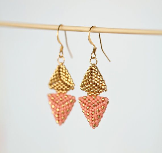 Handmade jewelry, etsy shop, small business, shop handmade, love handmade, earrings, handmade earrings, handmade in nz, handmade jewellery, gold earrings, pink earrings, gold and pink earrings, triangle earrings