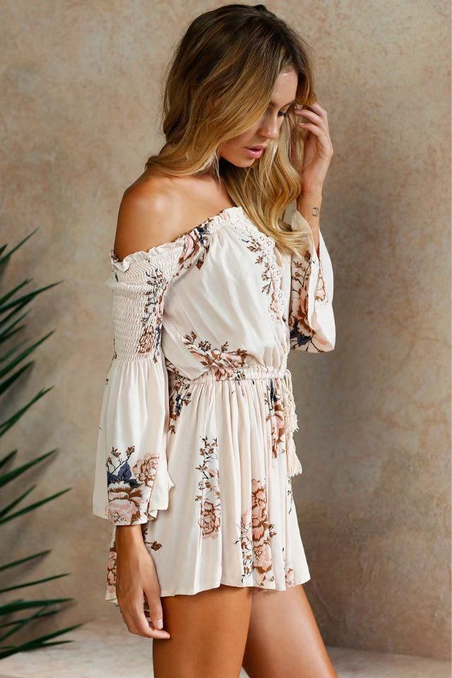 044aea569502 Aria Off The Shoulder Floral Playsuit
