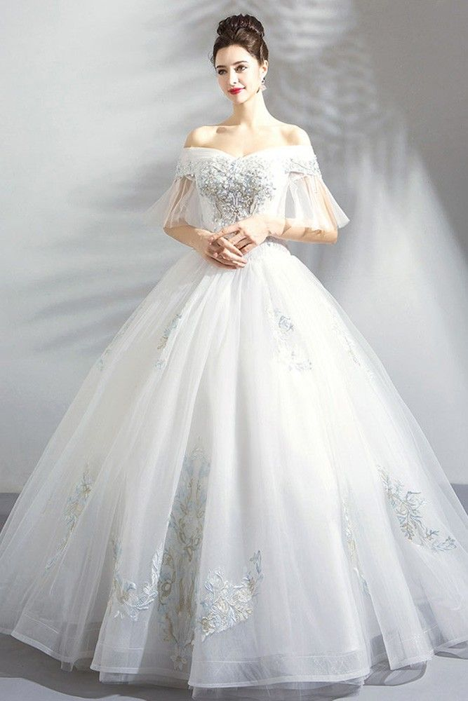 Fancy Embroidery Ball Gown Wedding Dress Princess With Off Shoulder Wholesale #T69058 – GemGrace.com