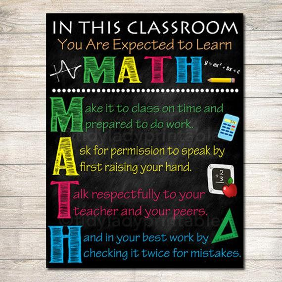 Math Teacher Classroom Poster Printable Math Classroom Math Poster Math Class Decor Classroom Rules Sign Math Teacher Gift Math Rules Classroom Rules Sign Classroom Rules Poster Math Teacher Gift