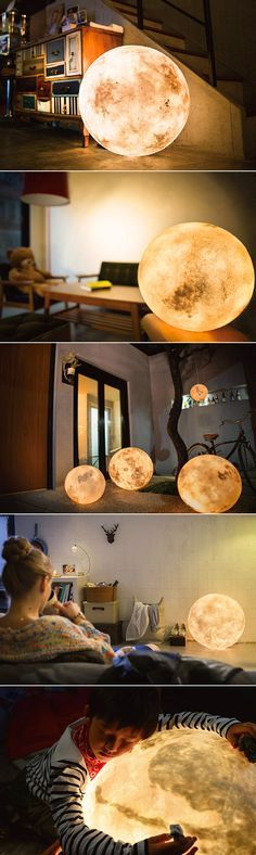 want for my studio - Enter Luna, a little ball of light designed to look like the moon. Luna can illuminate your home, providing a thought-provoking ambiance. It's made of glass fiber and non-toxic latex, with luminosity ranging from LUX1 to LUX5.