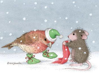 House Mouse dressing a bird in warm winter clothes.