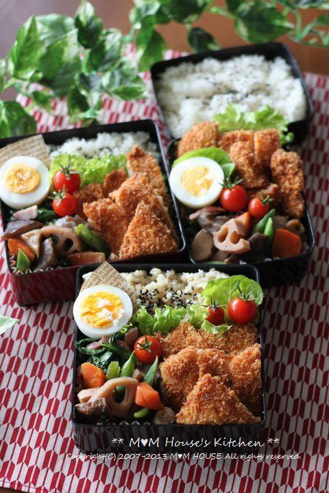 □ マンボウカツ □ ゆでたまご □ 小松菜とベーコン炒め □ 根菜類の煮物 □ プチトマト □ 玄米ご飯