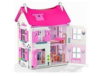 Poppenhuis Mademoiselle - Prachtig houten poppenhuis in stijlvolle kleuren geschilderd. De droom van vele kleine meisjes! Dit poppenhuis is al voorzien van meubeltjes en dus klaar om mee te spelen. je het in de doos zoals afgebeeld. Afmeting 42x32x58. Leeftijdindicatie 3 t/m 8 jaar. ( poppenhuis, janod, mertex, kinderkado, kraamkado, Poppenhuis Mademoiselle )