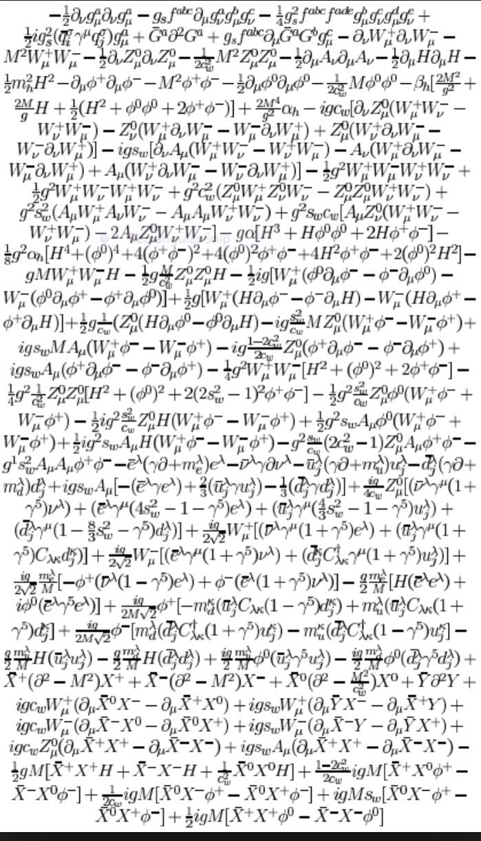 The lagrangian lorentz inverient . This describes all know observable physical phenomenon except gravity so they say? The universe written down on paper apparently.
