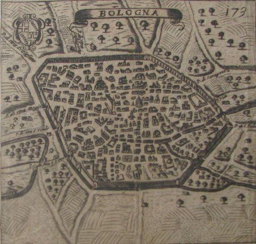 """FRANZ SCHOTT (SCOTO) (1548 - 1622)  """"Bologna""""  Dall'opera: Itinerario overo nova descrittione de' viaggi principali d'Italia, Venezia, 1665"""