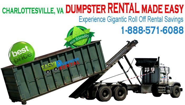Charlottesville, VA at Easy Dumpster Rental Dumpster Rental in Charlottesville,VA Experience Gigantic Roll OffRentalSavings Click To Call 1-888-792-7833Click For Email Quote We Have The Best Dumpster Rental Service In Charlottesville: Our dumpster rental service will blow you away. We will do all that we can to make your rolloff rental ... https://easydumpsterrental.com/virginia/dumpster-rental-charlottesville-va/