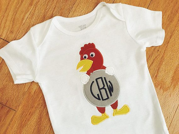Gamecock Monogram Onesie / Personalized Initial Outfit / Baby Rooster Bodysuit / Sports Team Onesie / Football, Baseball, Basketball Outfit