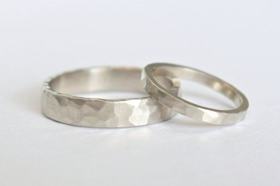 Hammered White Gold Wedding Rings 14k White by TorchfireStudio