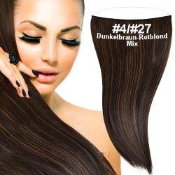 flip in extensions,dunkelbraun-rotblond-mix,#4-#27,50cm,strähnchen, haarverlängerung selber machen