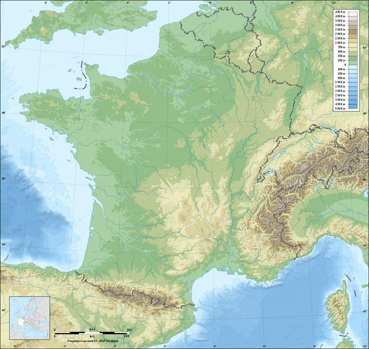 Fond de carte de France vierge avec relief