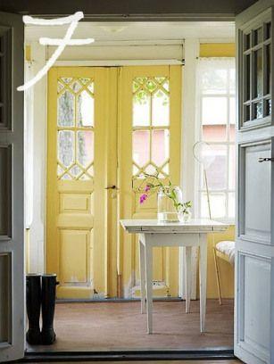 inside of front door painted yellow