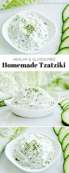Healthy Homemade Tzatziki Recipe! Made with Greek yogurt, this tzatziki sauce perfectly compliments all your favorite Mediterranean dishes! It's gluten-free, high-protein and irresistibly delicious!