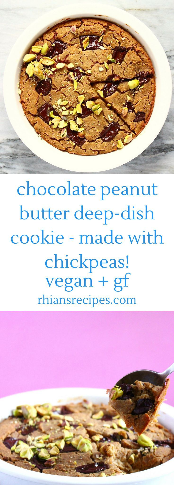 Peanut Butter Chocolate Chip Deep-Dish/Skillet Cookie made from chickpeas! Vegan, gluten-free, easy to make and secretly healthy!