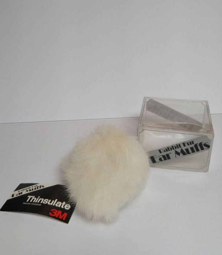 3M Thinsulate Rabbit Fur Ear  Earmuffs Ladies Womens Winter White Vintage NEW #3M