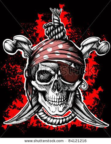 Jolly Roger, A Pirate Symbol With Crossed Daggers And A Rope On The Black And Red Background Stock Vector 84121216 : Shutterstock