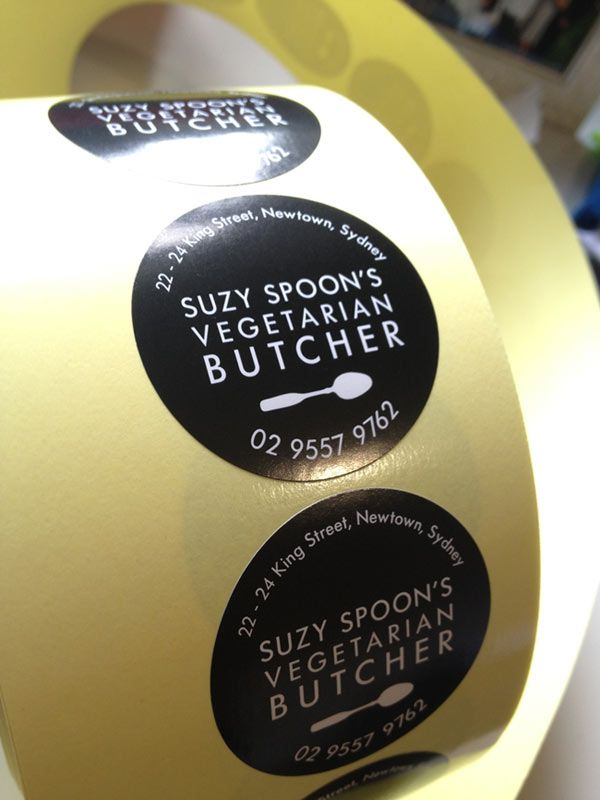 Roll stickers for Suzy Spoon's Vegetarian Butcher in Newtown.