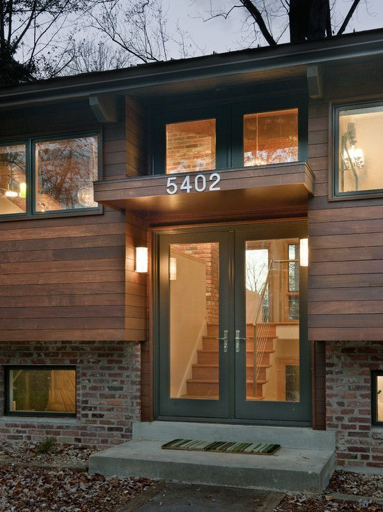 """""""Modern Revisited,"""" split entry modern remodel, exterior.  This bi-level homes are EVERYWHERE out here, but this is the first time I've seen one redone like this!  Gorgeous! -Leah"""