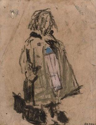 Joan Eardley, urchin in a green coat