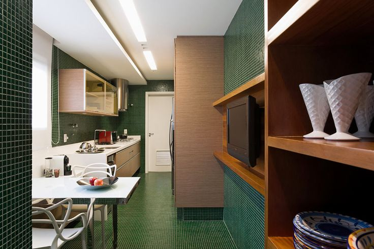 Home & Apartment: Green Tiles And White Furniture White Dining Table And White Chairs Green Tile Flooring Wooden Shelves Tv Stand Kitchen Cabinet Sink: Panamby Apartment in Brazil - Golden Accents Supplying Creativity
