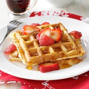 True Belgian Waffles Recipe -It was on a visit to my husband's relatives in Belgium that I was given this recipe. Back in the U.S., I served the waffles to his Belgian-born grandmother. She said they tasted just like home. Our grandkids love these waffles with any kind of topping: blueberries, strawberries, raspberries, fried apples, powdered sugar or whipped topping. —Rose Delemeester, St. Charles, Michigan