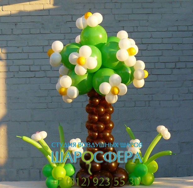 Дерево из шаров для оформления детских праздников, дней рождения, пальма из шаров для пиратских и гавайских вечеринок. Стоимость дерева из шаров от 700 руб