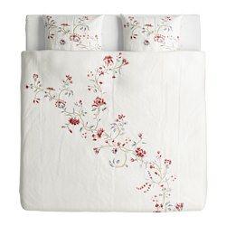IKEA - RÖDBINKA, Housse de couette et taie, 150x200/65x65 cm, , Satin de lyocell tissé pour un linge de lit doux, soyeux et brillant.Une nuit confortable et au sec grâce au lyocell qui absorbe puis évacue l'humidité et permet de maintenir votre environnement de sommeil à une température constante.Des rubans décoratifs et une poche dissimulée maintiennent la couette bien en place.