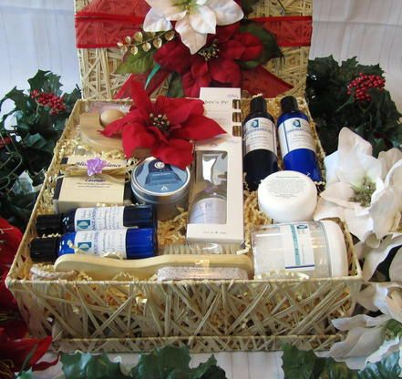 Christmas Spa Gift Basket:  Exquisite Christmas spa gift basket to relax and rejuvenate after the hustle and bustle of the season. These luxurious spa gifts are perfect to enjoy a restorative sanctuary at home. Our aromatherapy bath & body products such as exfoliating body scrub, rejuvenating blend of essential oils, French green clay mask and nourishing body cream will help you feel invigorated with a wonderful sense of vitality.  http://www.blissfulbalance.com/christmas-spa-gift-basket/