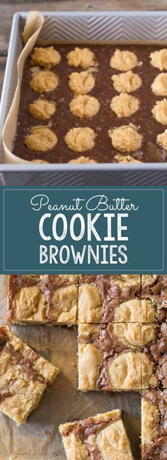 An easy homemade brownie batter studded with globs of peanut butter cookie dough for a chocolate peanut butter lovers dream come true.