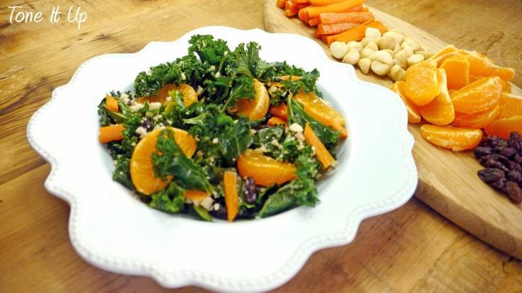 Sweet & Spicy Kale Salad~Kick craving temptations to the curb with this delicious salad for lunch!