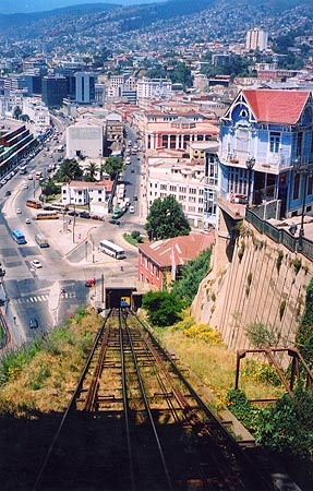 Valparaíso boasts about 15 funiculars, the first constructed in 1883. The rickety, weathered wooden superstructure and delicate click-click-click of ascension make you wonder if anything has changed