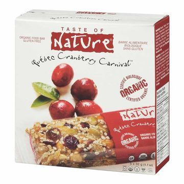 Taste of Nature Organic Food Bar - Quebec Cranberry Carnival - 5x32g
