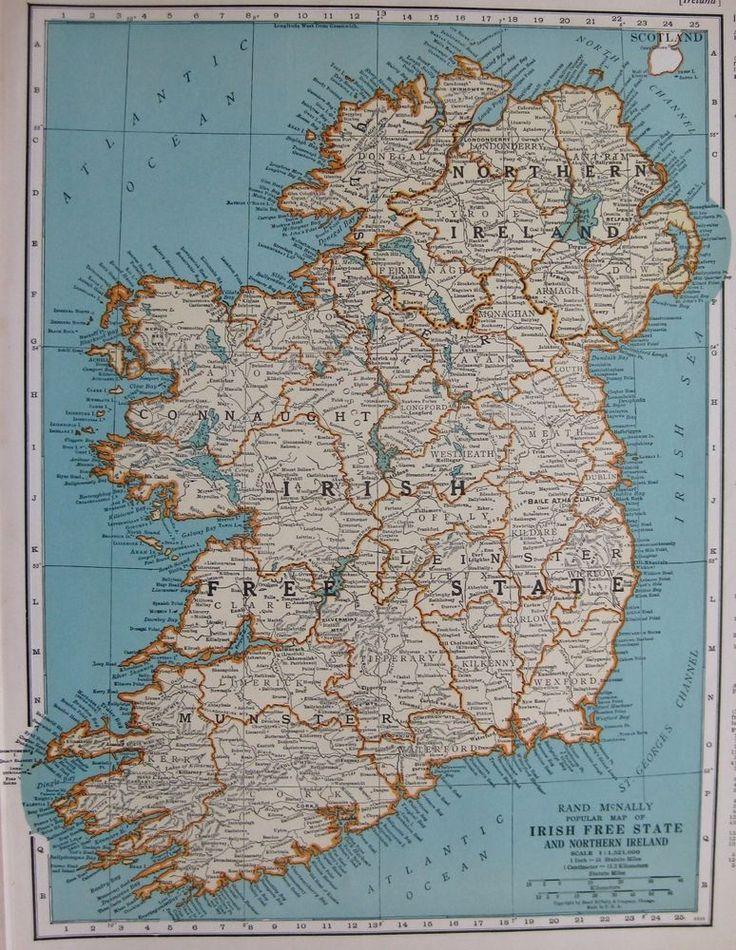1937 Antique IRELAND Map Irish Free State 1930s Map Gallery Wall Art 3415