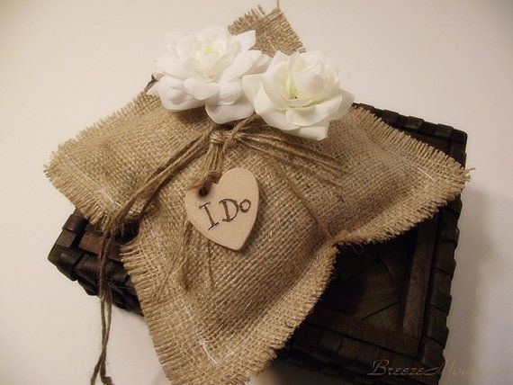 Wedding Ring Pillow Rustic Burlap Personalized by breezemountain8, $25.99